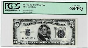 1934 Silver Certificate FR 1653 1934C PCGS Certified 65 PPQ Cert# 80364171