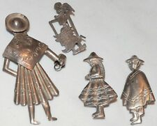 Peru Man Woman Girl Bucket Inca Vintage Peruvian Sterling Silver Brooch Pin Lot