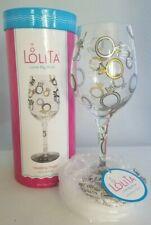 """Lolita Love My Wine """"Wedding Toast""""  Hand Painted Wine Glass Keepsake 15 oz NIB"""