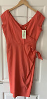 PRETTY DRESS COMPANY CORAL PINK FITTED MIDI DRESS UK 14 NEW OCCASION WEDDING