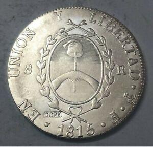 1815 Argentina 8 Reales Provincias del rio de la plata Silver Plated Souvenir