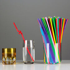 50X Colorful Cocktail Drinking Party Extra Long Flexible Drinking Bendy Straw