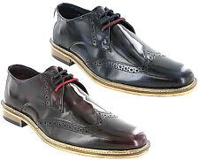 Lambretta Brogue Shoes High Shine Formal Smart Franky Brush Off Men Lace UK 7-12