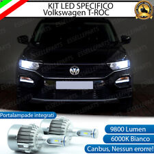 KIT LED H7 VW T-ROC TROC CANBUS 9800 LUMEN 6000K BIANCO PLUG AND PLAY ALL IN ONE