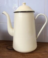 Genuine VINTAGE ENAMEL WARE Large Cream COFFEE POT Shabby Chic FRENCH PROVINCIAL