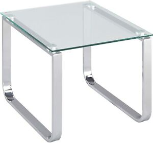 Square Glass Table Clear Side Sofa End Modern Furniture Metal Chrome Room Stand