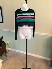I Love Ronson Black/Multi-Color Striped Cotton Blend Crop Sweater - Small