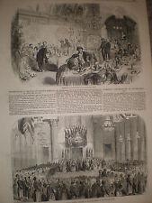 BlueCoat chicos Cristo's Hospital cumplir con el alcalde de Londres 1855 impresión Antiguo