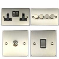 Flat Plate Brushed Stainless Steel FSS3 Light Switches, Plug Sockets, Dimmers