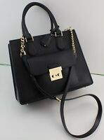 NEW AUTHENTIC MICHAEL KORS BRIDGETTE BLACK LEATHER HANDBAG MD EW TOTE WOMENS