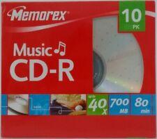 10 Pack of Memorex Music 40x Cd-r Black CD 700mb 80 Min With Slim Case