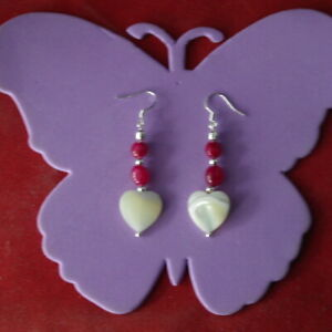 Earrings With Indian Ruby & Heart Mother Of Pearl 4.3 Cm. Long + Hooks