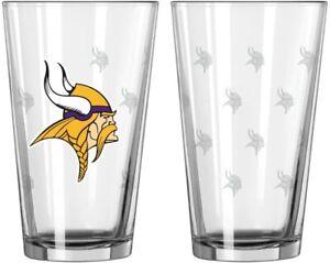 Minnesota Vikings 16 oz Satin Etch Logo Pint Glass Set (2 Glasses)