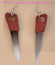 Funky Huge Mini HAND SAW EARRINGS Carpenter Handyman Tool Charms Novelty Jewelry