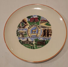 Vintage Decorative Collectible State Plate Of Kentucky 9 Inch Gold Rim
