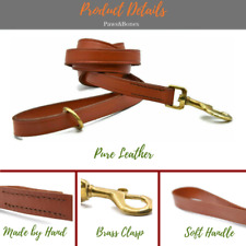 Leather Dog Leash Walking Training Lead 5FT Long Handmade Lead Floating Ring Tan