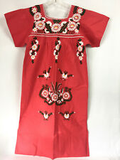Vintage Mexican Embroidered Dress Womens Medium Red Floral Boho Festival Oaxacan