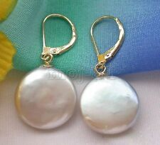 Natural 14mm White Coin Pearl 14k Gold Plated Leverback Dangle Earrings