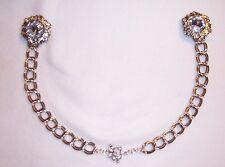 Chain Closure Cloak Silver BIG Rhinestone BLING Clasp Sew In Women's Opera Cape