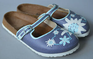 Ladies Birki's Birkenstock Blue Floral Closed Toe Sandals Clogs Size 39 UK 6