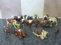 10x BRITAINS TOYS DIE-CAST VINTAGE FARMYARD COWS BROWN/BLACK & WHITE