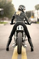 Girl On A Motorcycle Bike Motorbike Poster 24x36
