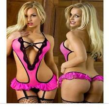 Womens Sexy Lace Halter Teddy Lingere Thong Bodysuit One Piece Babaydoll Snap #x