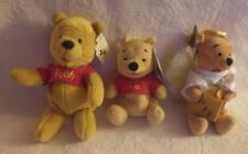 Walt Disney Lot of 3 Winnie The Pooh Bear Bean Bag Plush Angel Various Sizes New