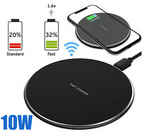 Qi Wireless Fast Charger Charging Dock Pad For Samsung S20 S10 iPhone 8 X 11 10W