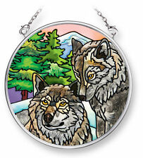 """AMIA STAINED GLASS SUNCATCHER WOLVES  3.5"""" ROUND  42087"""