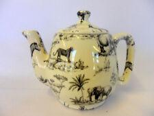 Black safari design 1 cup teapot by Heron Cross Pottery