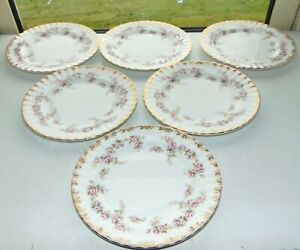 Royal Albert Bone China Dimity Rose 6 x Dessert Plates 21cm