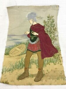 Antique Embroidered Panel Large English Needlework Embroidery Roman Soldier RARE
