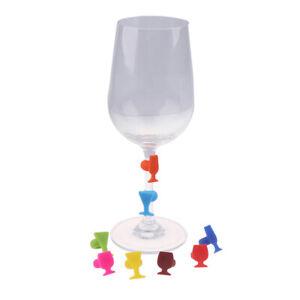 8pcs Silicone Wine Glass Shape Wine Glass Marker Drinking Cup IdentifierY_cd