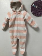 Old Navy snowsuit pram size 6 to12 months pale pink hooded zipper 117