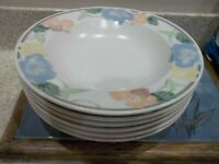 """2 Mikasa Intaglio CAC08 Garden Poetry Soup Bowls 9 3/8"""" Pastel Flowers 1987-91"""