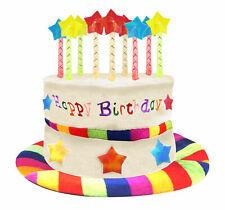 Adult Velvet Happy Birthday Hat Cake Hat Mock Rainbow Candles Multi Party