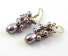 Mauve Pearl Earrings, Purple Cluster, Drop, with Crystals