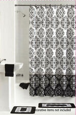 NEW 15PC ASHUR BLACK BATHROOM BATH MATS SET RUG CARPET SHOWER CURTAIN RINGS