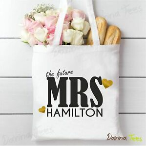 """Bride to be tote bag. Personalised """"the future MRS"""" gift bag. Hen Party weekend"""