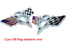Fashion Car Pickup 2 Pcs V8 US Racing Flag Emblem Badge Sticker Metal Chrome