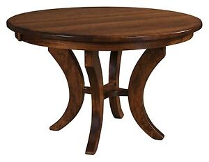 """QUICK SHIP Amish Round Pedestal Dining Table Transitional Solid Wood 42"""",48"""" 54"""""""