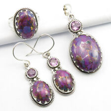 Free FAST Delivery 925 Silver TURQUOISE & AMETHYST Pendant Earrings Ring #7.25