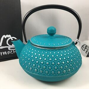 IWACHU Japanese Cast Iron Tetsubin Teapot Turquoise Honeycomb 22oz Made in Japan