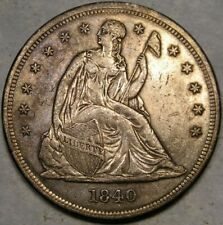 1840 LIBERTY SEATED SILVER DOLLAR VERY APPEALING FEATURES SCARCE 1ST YEAR ISSUE