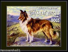 English Print Lassie Collie Dog Dogs Biscuit Advertisement Art Vintage Poster