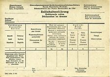 WWII German Occupied Poland  - Custom Declaration Form