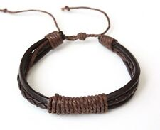NEW Leather Hemp Braided Surfer Bracelet Wristband Cuff Slip Knot Brown