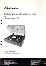 GARRARD EXPLODED DIAGRAM & PARTS LIST for a MODEL 775  - 1979