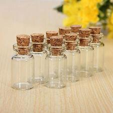 20 X MINI EMPTY CORK STOPPER GLASS BOTTLES VIALS JARS DIY CRAFT PENDANTS LOVELY